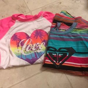 (2) girls swim water shirts size L